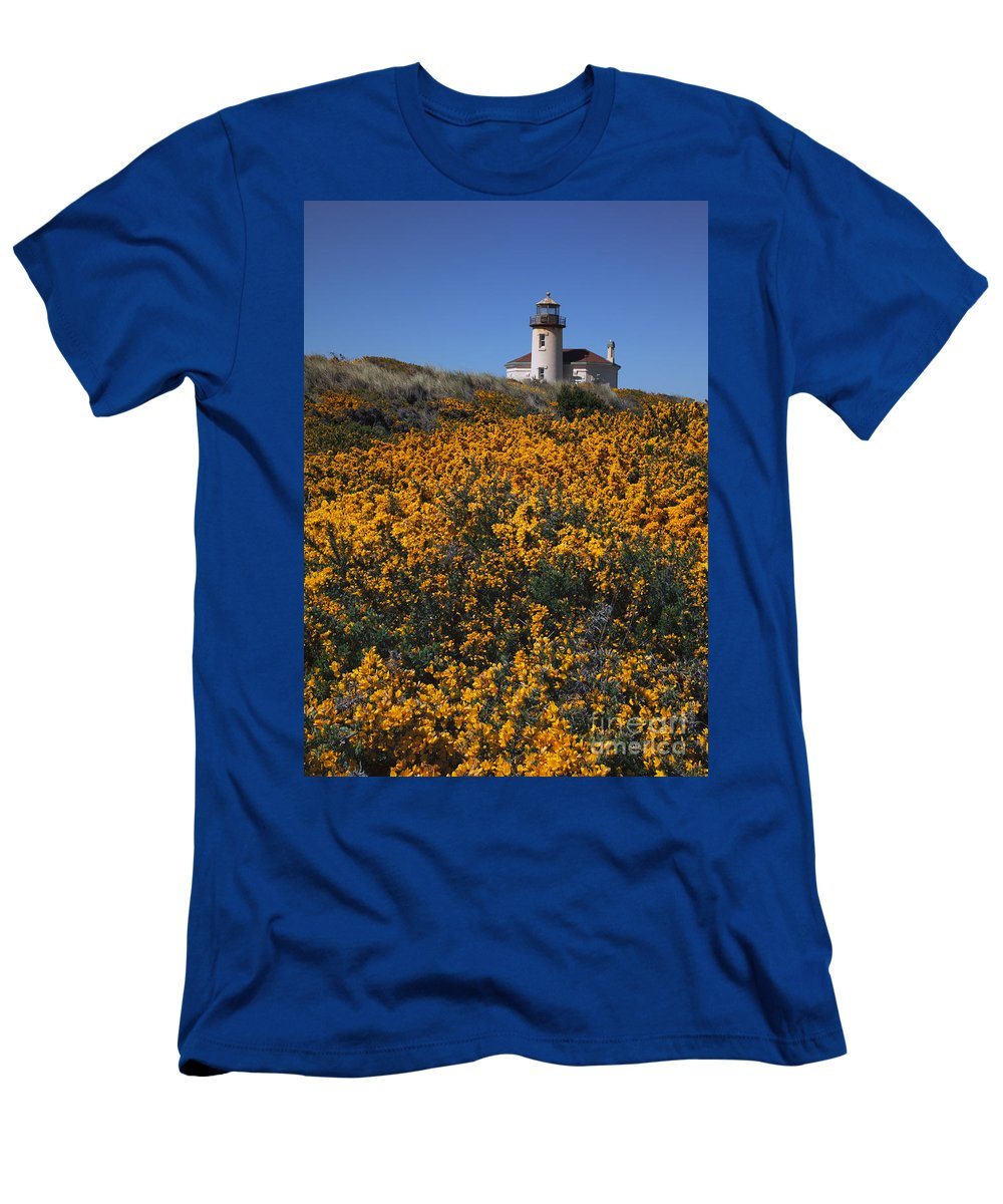 Coquile River Lighthouse Men's T-Shirt (Athletic Fit) featuring the photograph Framed With Gold by Mike Dawson