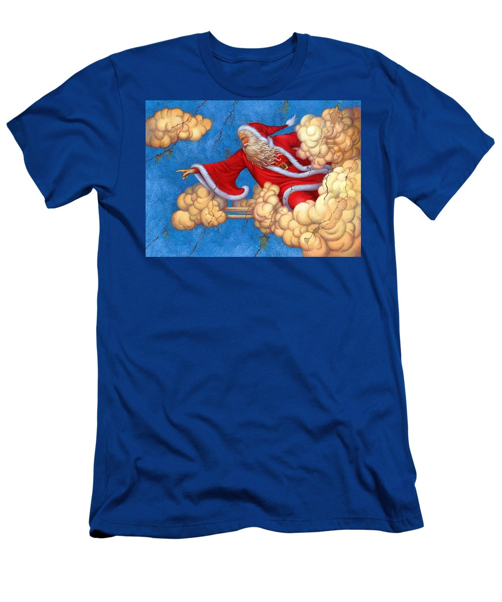 Carol Lawson Men's T-Shirt (Athletic Fit) featuring the painting Fresco Father Christmas by Carol Lawson
