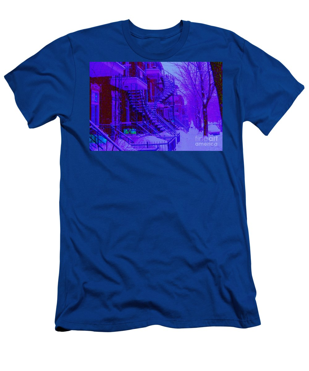 Montreal Men's T-Shirt (Athletic Fit) featuring the photograph Frost On Winding Staircases by Carole Spandau