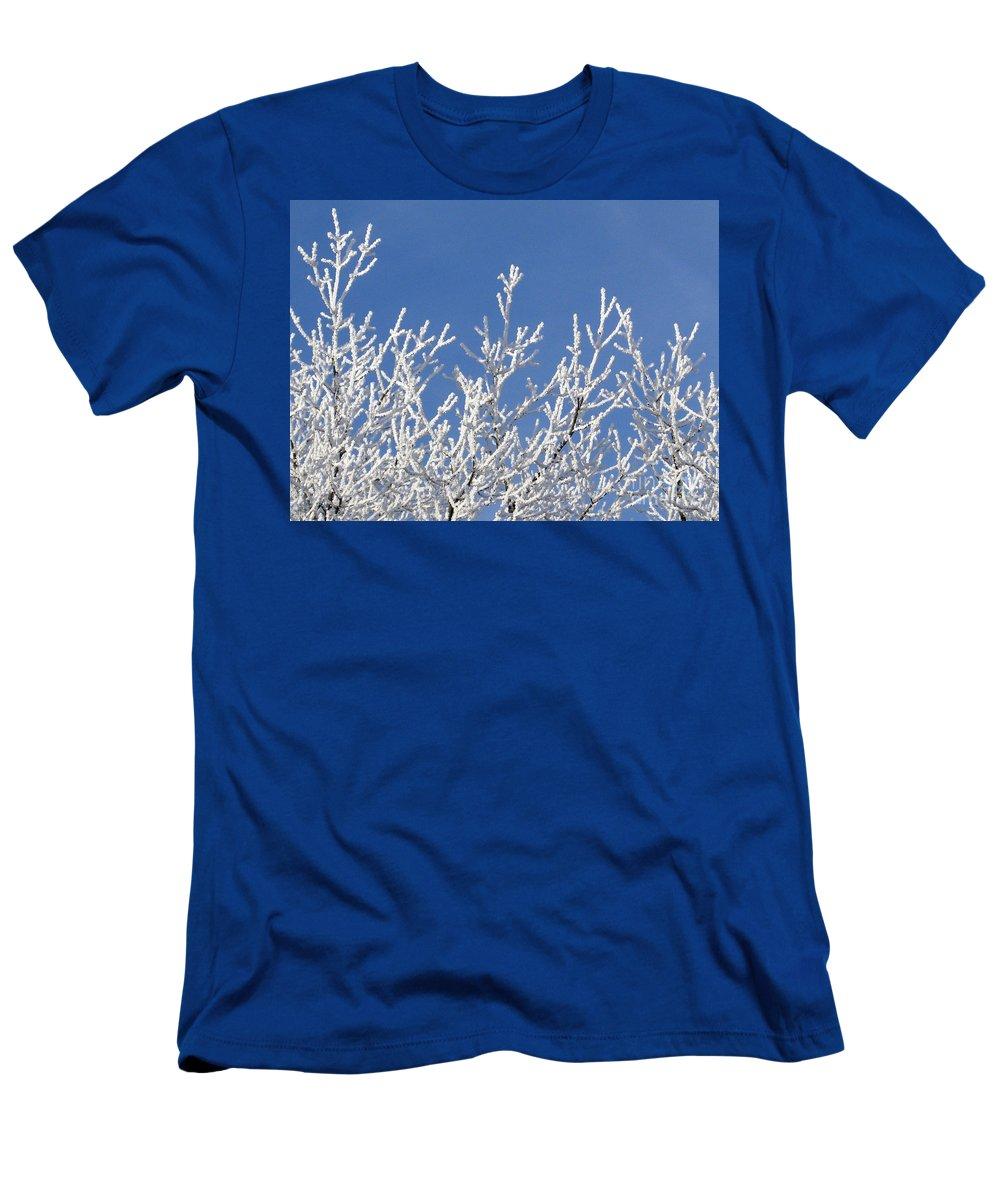 Nature Men's T-Shirt (Athletic Fit) featuring the photograph Frosty Winter Wonderland 01 by Ausra Huntington nee Paulauskaite