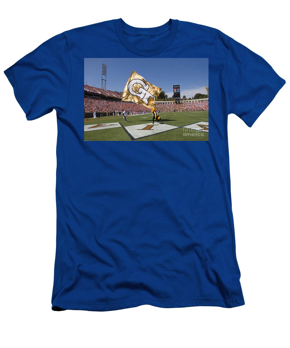 Georgia Tech Men's T-Shirt (Athletic Fit) featuring the photograph Georgia Tech Touchdown Celebration At Uva by Jason O Watson