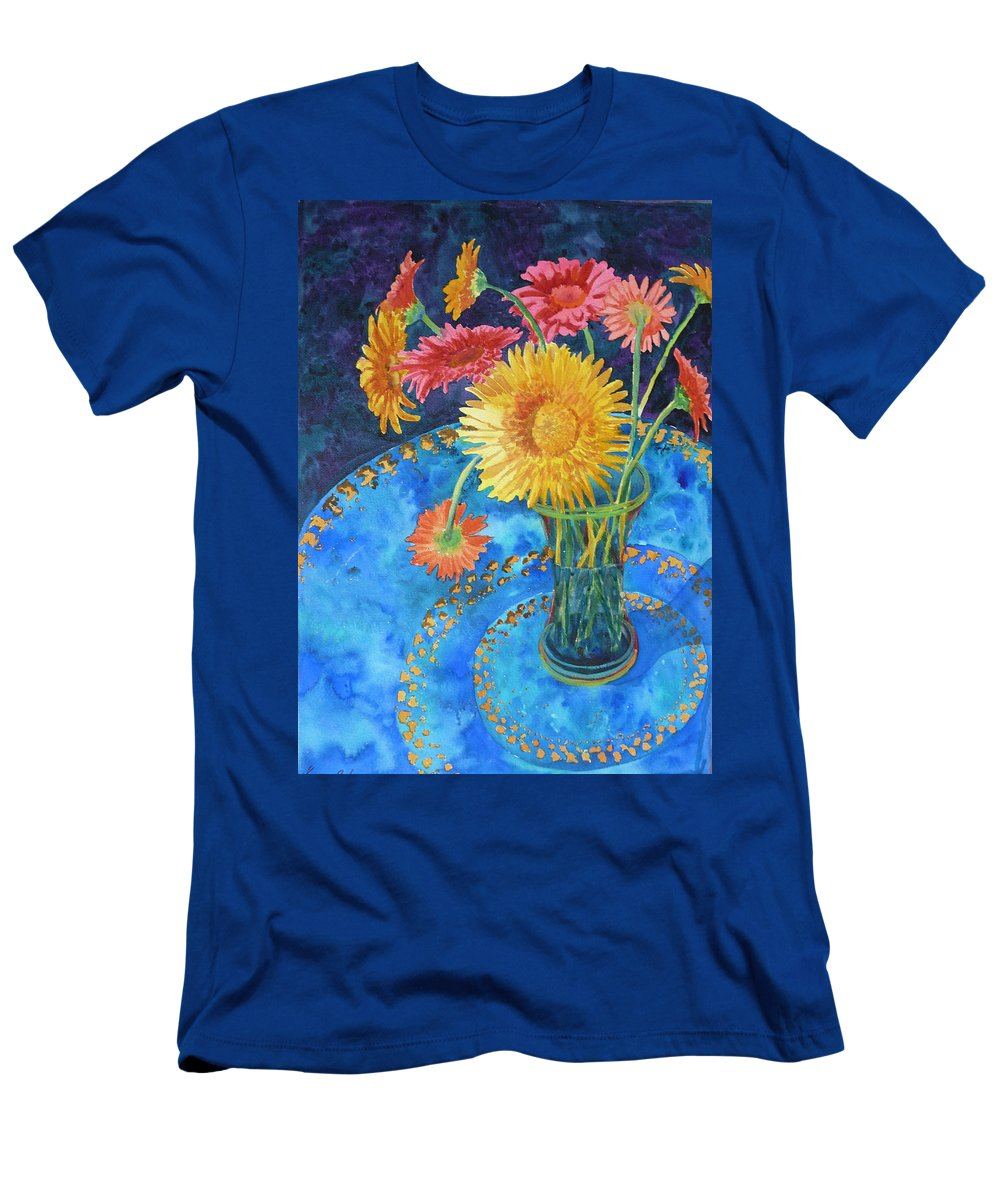 Flowers Men's T-Shirt (Athletic Fit) featuring the painting Gerberas by Yvonne Ankerman