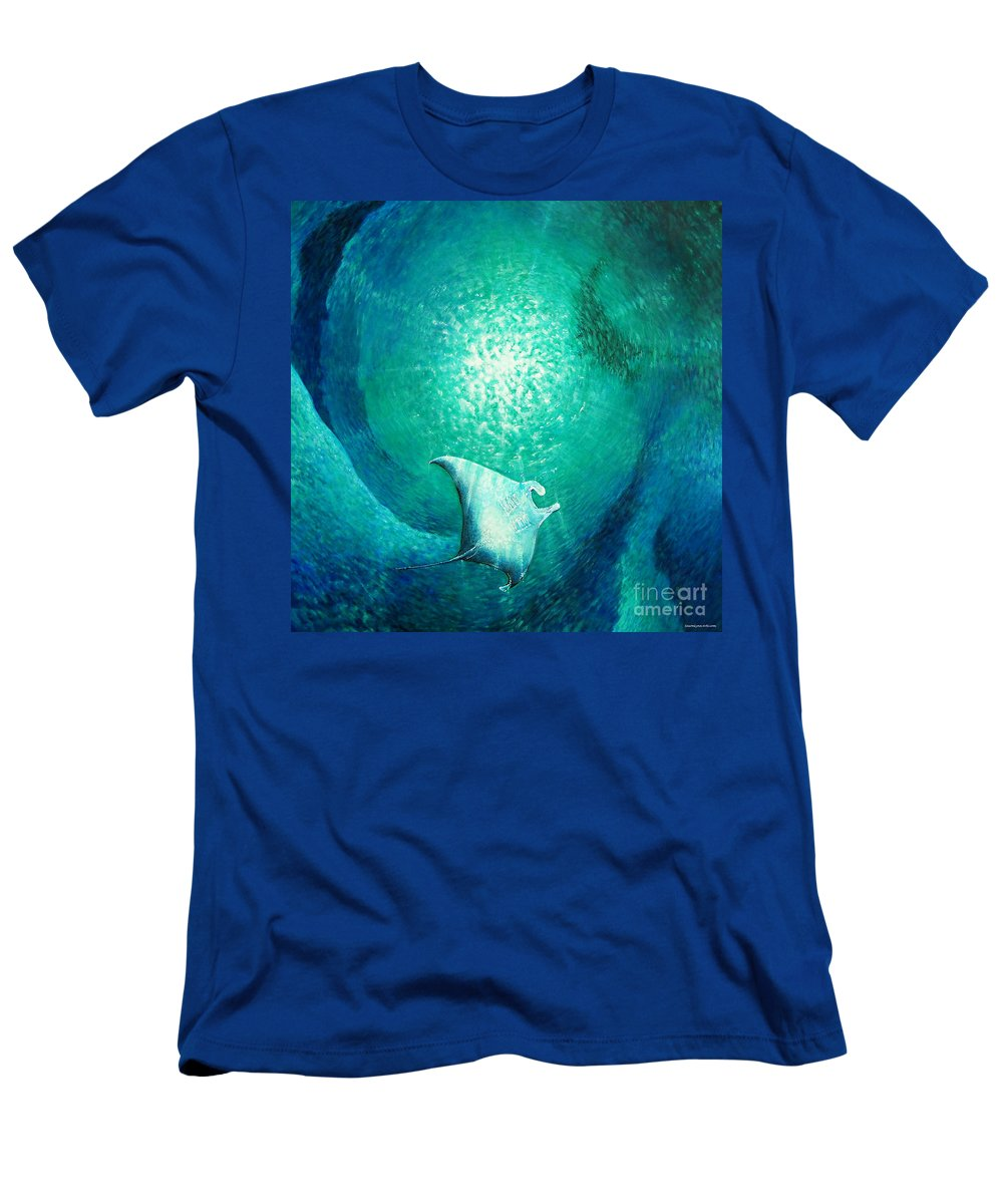 Sting Ray Men's T-Shirt (Athletic Fit) featuring the painting Glide by SaxonLynn Arts