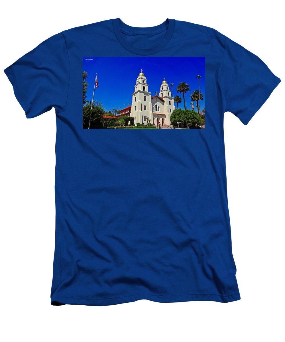 Good Shepherd Men's T-Shirt (Athletic Fit) featuring the photograph Good Shepherd Catholic Church by James Markey