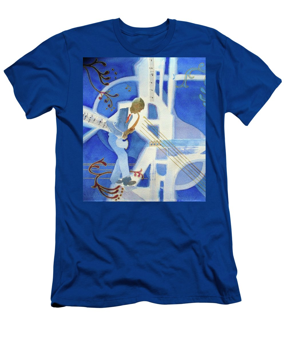Jazz Men's T-Shirt (Athletic Fit) featuring the painting Got The Blues by Marilyn Jacobson