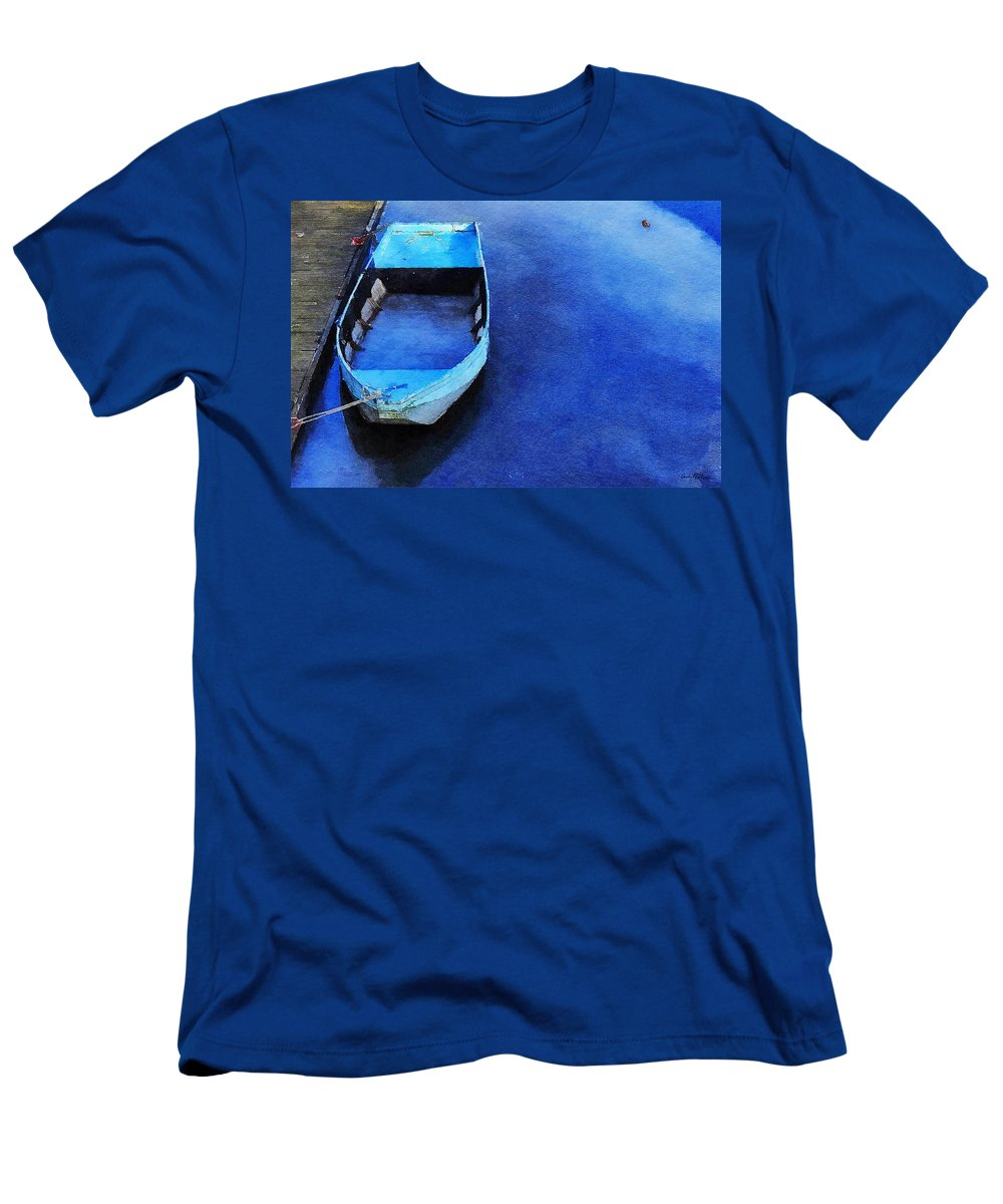 Waterscape Men's T-Shirt (Athletic Fit) featuring the painting Got The Blues by Sandy MacGowan