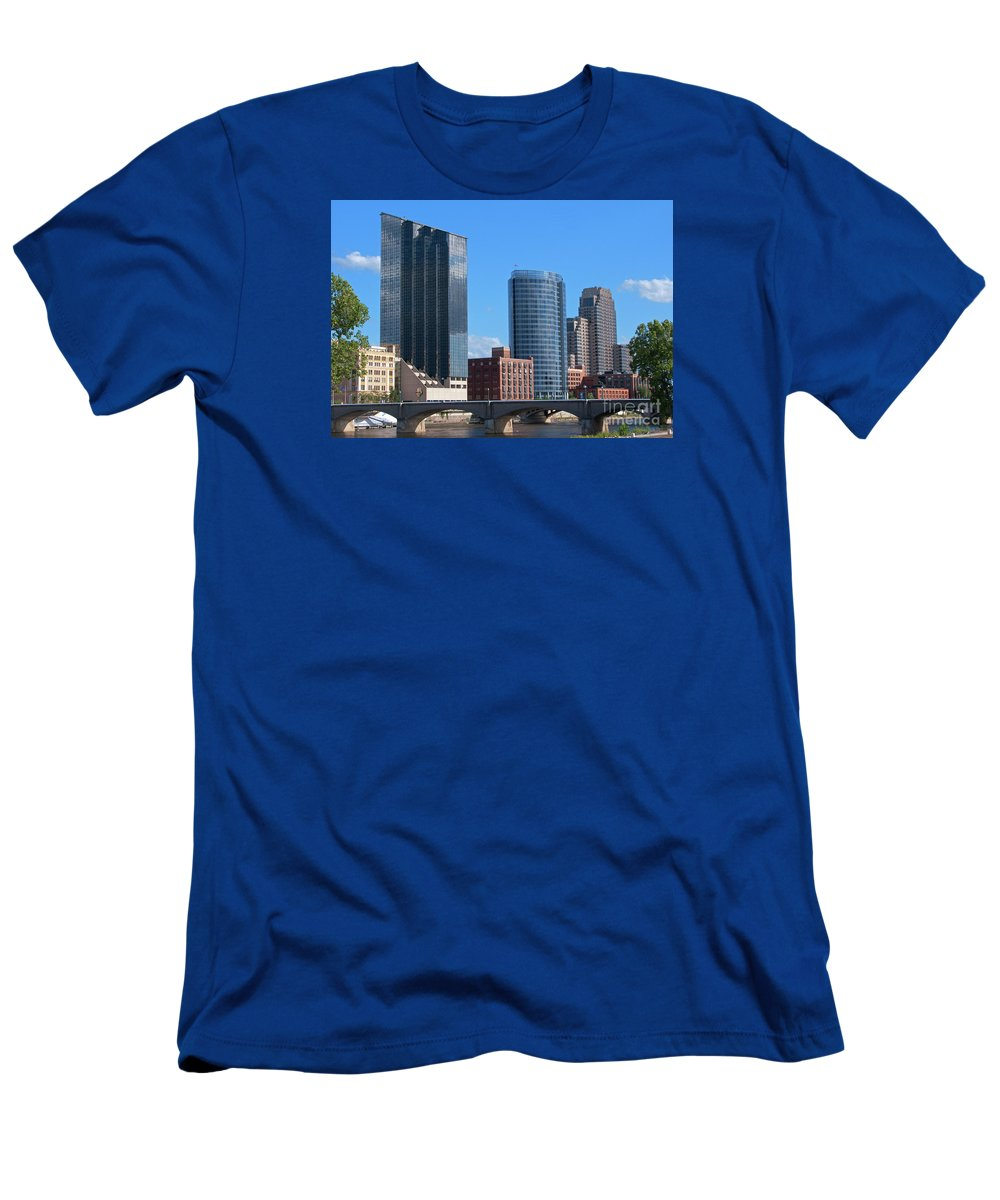 Grand Rapids Men's T-Shirt (Athletic Fit) featuring the photograph Grand Rapids Riverfront by Ann Horn