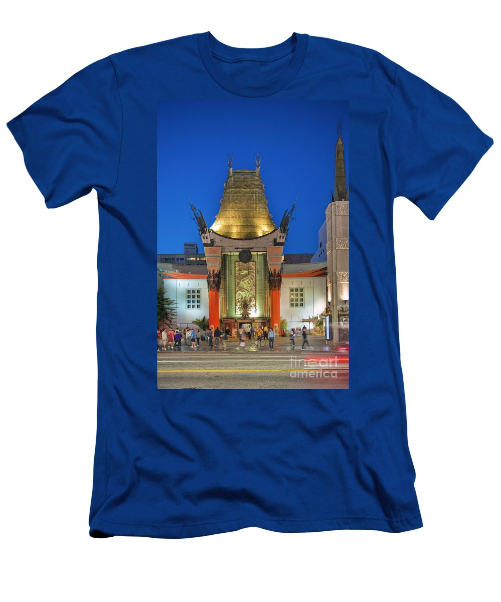Grauman's Chinese Theater Men's T-Shirt (Athletic Fit) featuring the photograph Grauman's Chinese Theater Night Lights by David Zanzinger
