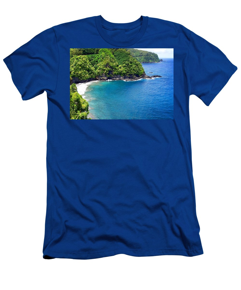 Ocean Men's T-Shirt (Athletic Fit) featuring the photograph Hana Coastline In Maui Hawaii by Amy McDaniel