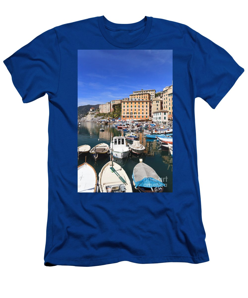 Blue Men's T-Shirt (Athletic Fit) featuring the photograph harbor in Camogli - Italy by Antonio Scarpi