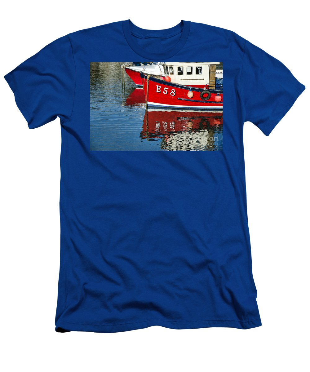 Lyme Regis Men's T-Shirt (Athletic Fit) featuring the photograph Harbour Reds by Susie Peek