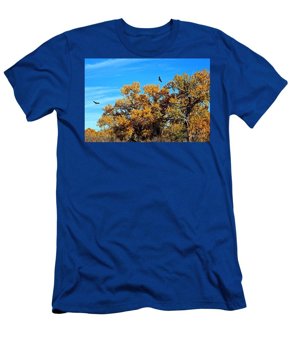 Hawk Men's T-Shirt (Athletic Fit) featuring the photograph Hawks Afar by Bob Hislop