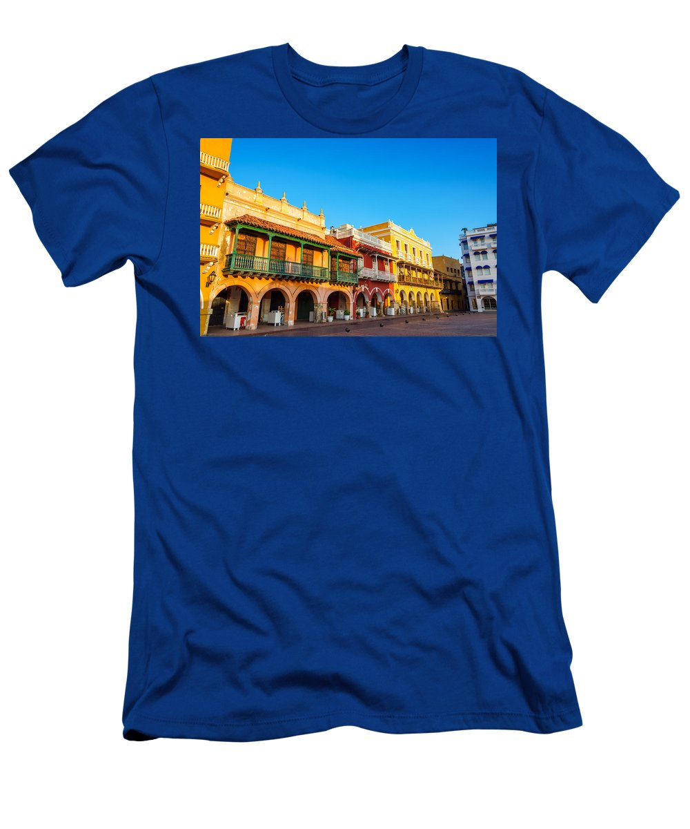 Colombia Men's T-Shirt (Athletic Fit) featuring the photograph Historic Colonial Facades by Jess Kraft