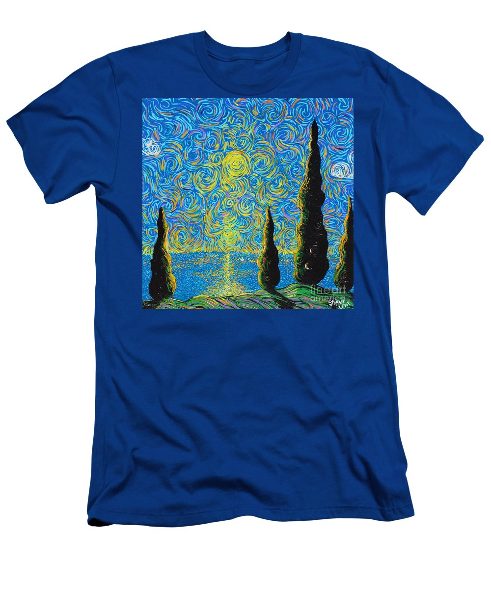 Trees Men's T-Shirt (Athletic Fit) featuring the painting Homage To The Sun by Stefan Duncan