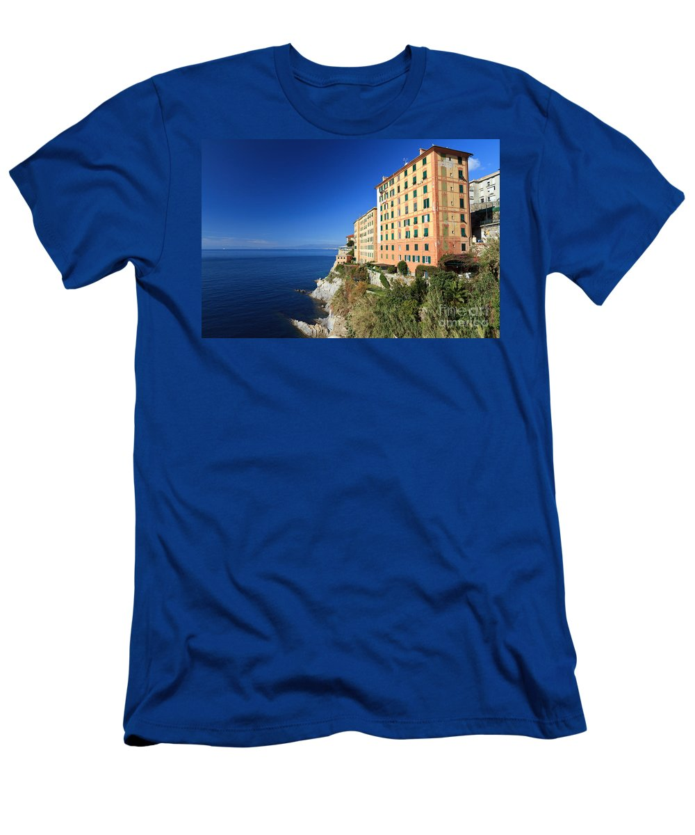 Architecture Men's T-Shirt (Athletic Fit) featuring the photograph homes in Camogli by Antonio Scarpi