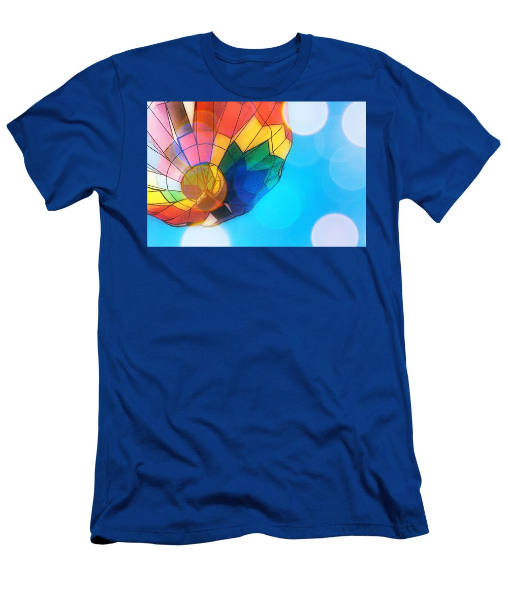 Hot Air Balloon Men's T-Shirt (Athletic Fit) featuring the photograph Hot Air Bokeh by Alice Gipson