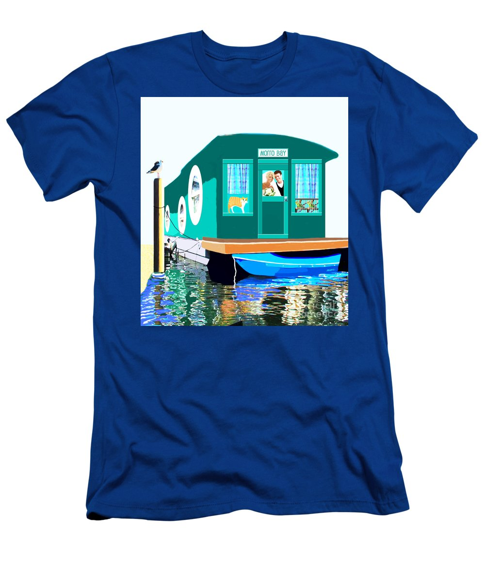 Boat Men's T-Shirt (Athletic Fit) featuring the painting Houseboat by Marian Cates