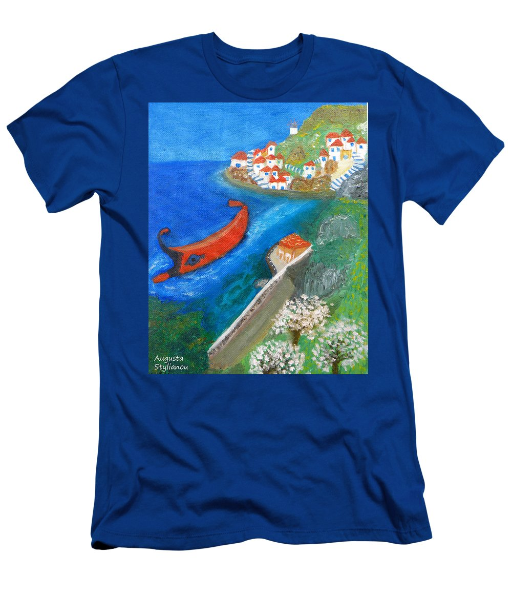 Hydra Men's T-Shirt (Athletic Fit) featuring the painting Hydra Island by Augusta Stylianou