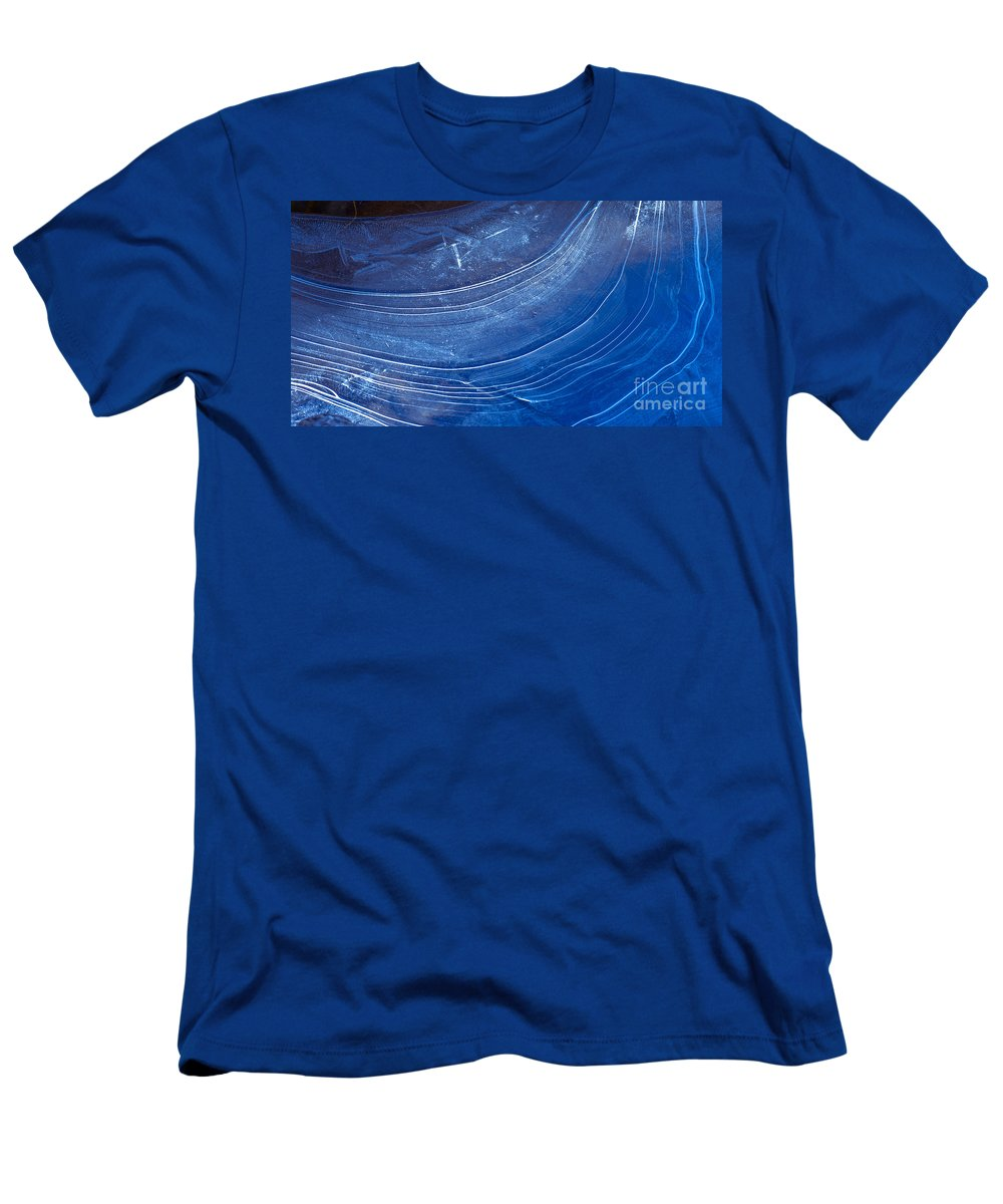 Blue Men's T-Shirt (Athletic Fit) featuring the photograph Ice Curve In Blue by Joy McAdams