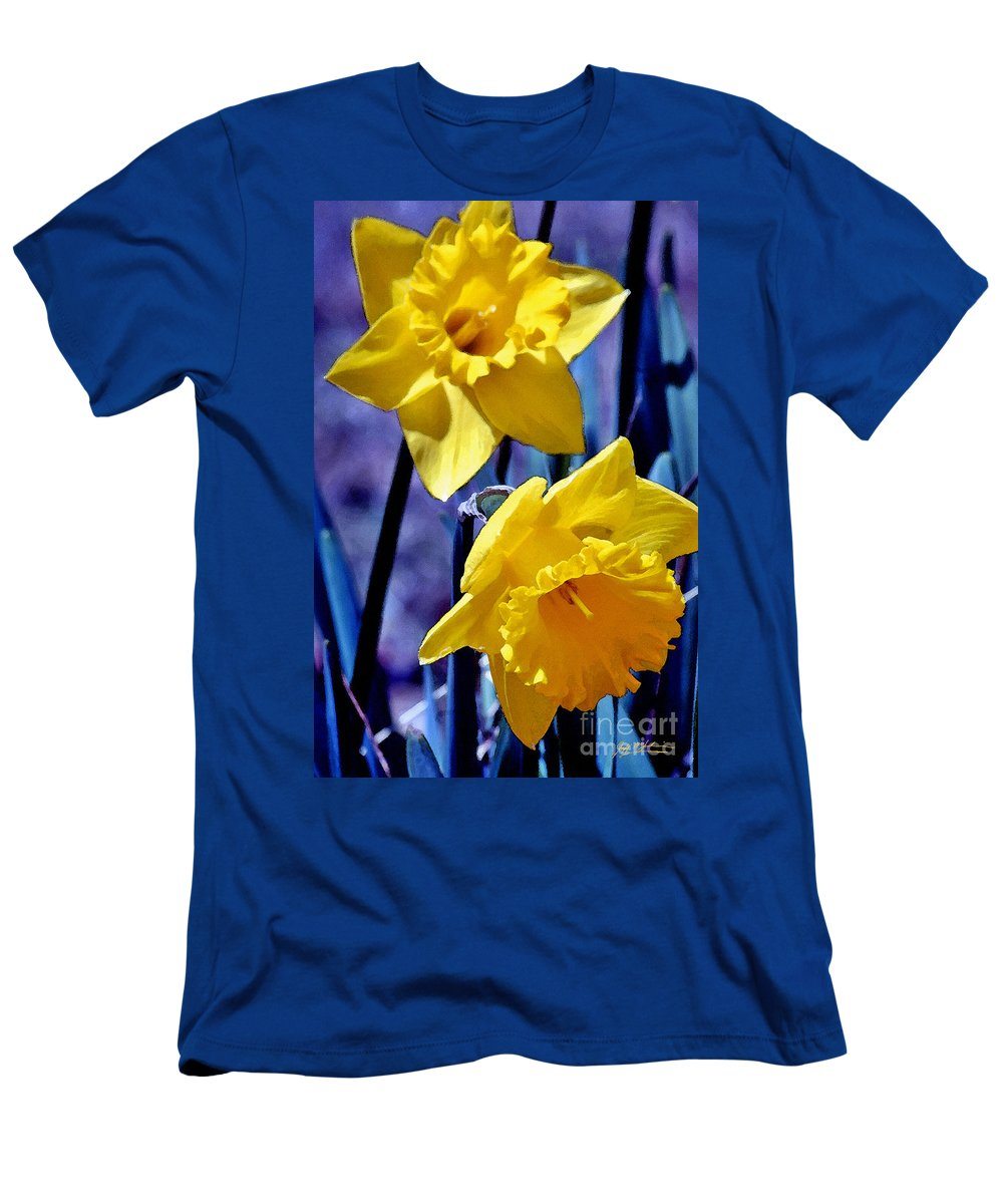 Daffodil Men's T-Shirt (Athletic Fit) featuring the photograph Jonquil Watercolor by Jeff McJunkin
