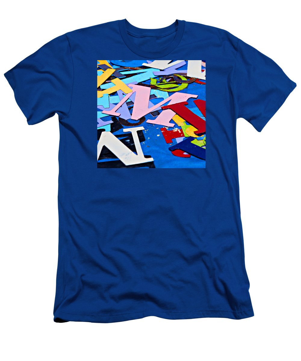 Letter Men's T-Shirt (Athletic Fit) featuring the photograph Jumble Of Letters by Art Block Collections