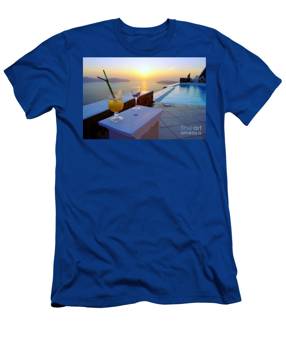 Caldera T-Shirt featuring the photograph Just Before Sunset In Santorini by Madeline Ellis