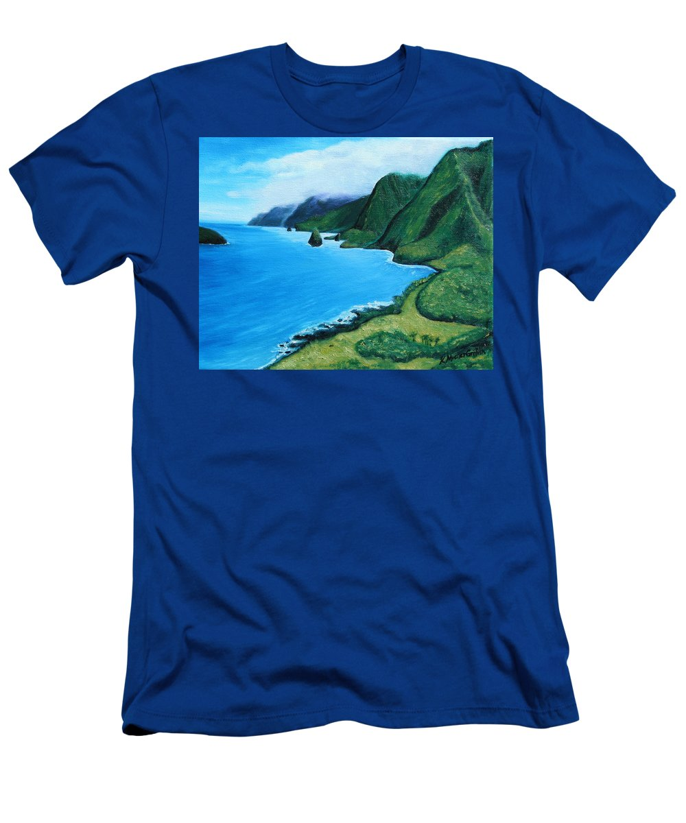 Hawaii Men's T-Shirt (Athletic Fit) featuring the painting Kalaupapa Peninsula by Kristine Griffith