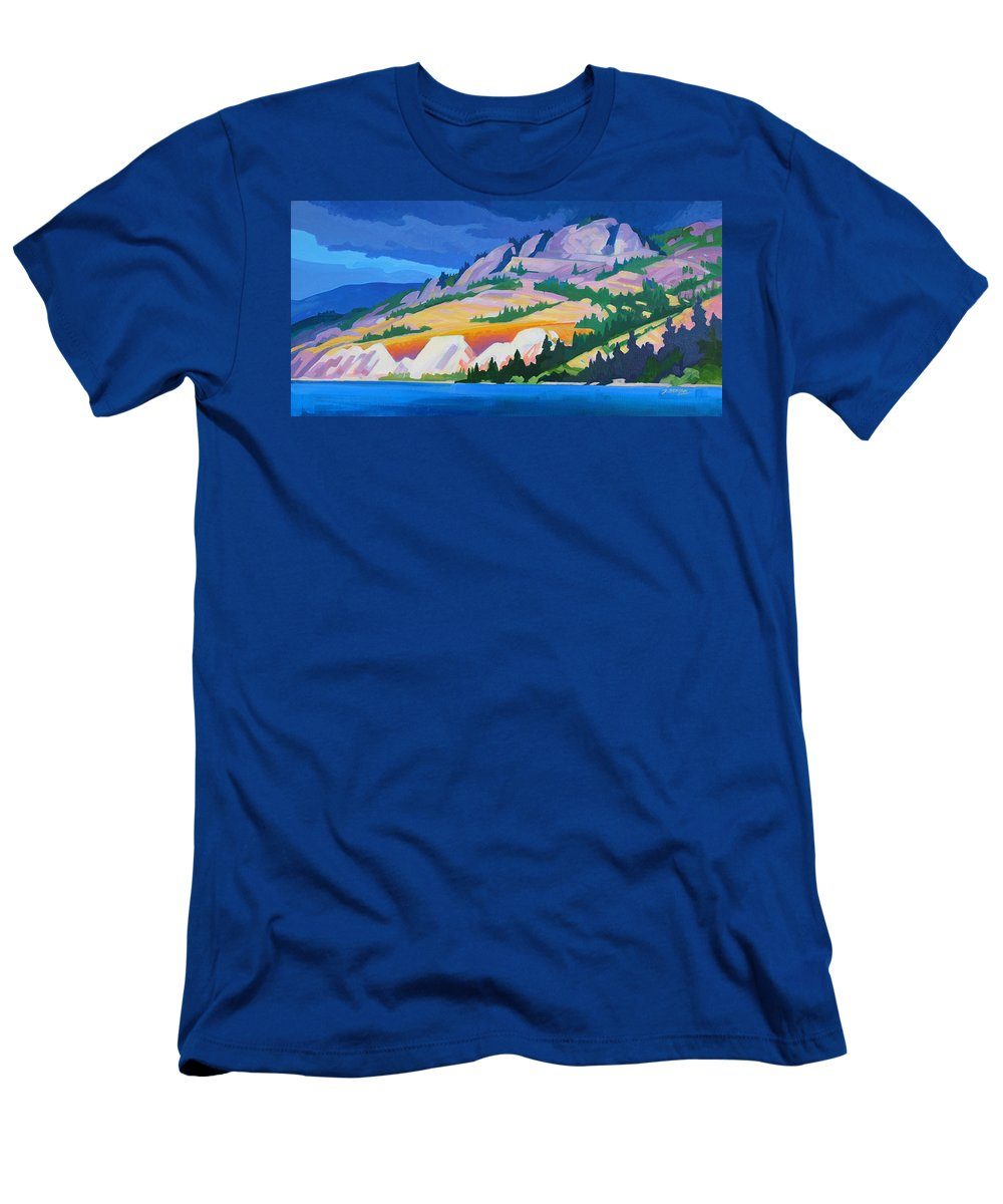 Kettle Valley Railroad Men's T-Shirt (Athletic Fit) featuring the painting Kvr Railway Bluff Naramata by Dianne Bersea