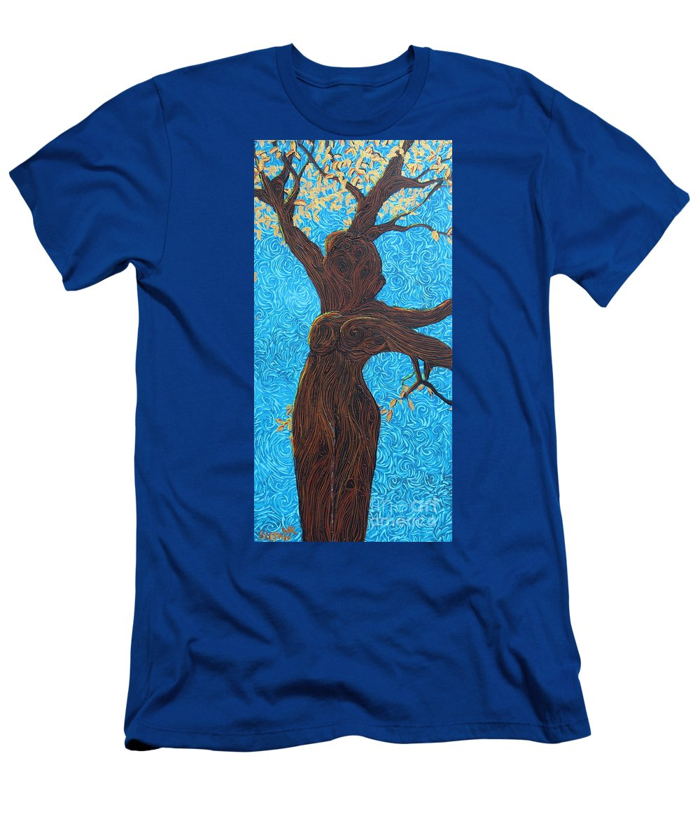 Squigglism Men's T-Shirt (Athletic Fit) featuring the painting Lady With The Golden Hair by Stefan Duncan