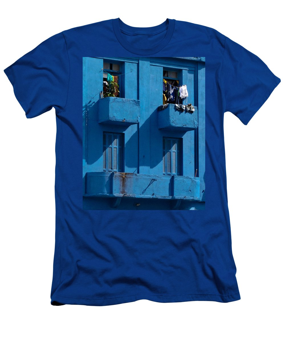 Blue Men's T-Shirt (Athletic Fit) featuring the photograph Laundry - Sao Paulo by Julie Niemela