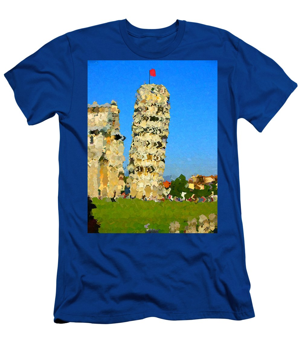 Tower Men's T-Shirt (Athletic Fit) featuring the painting Leaning Tower Of Pisa by Bruce Nutting