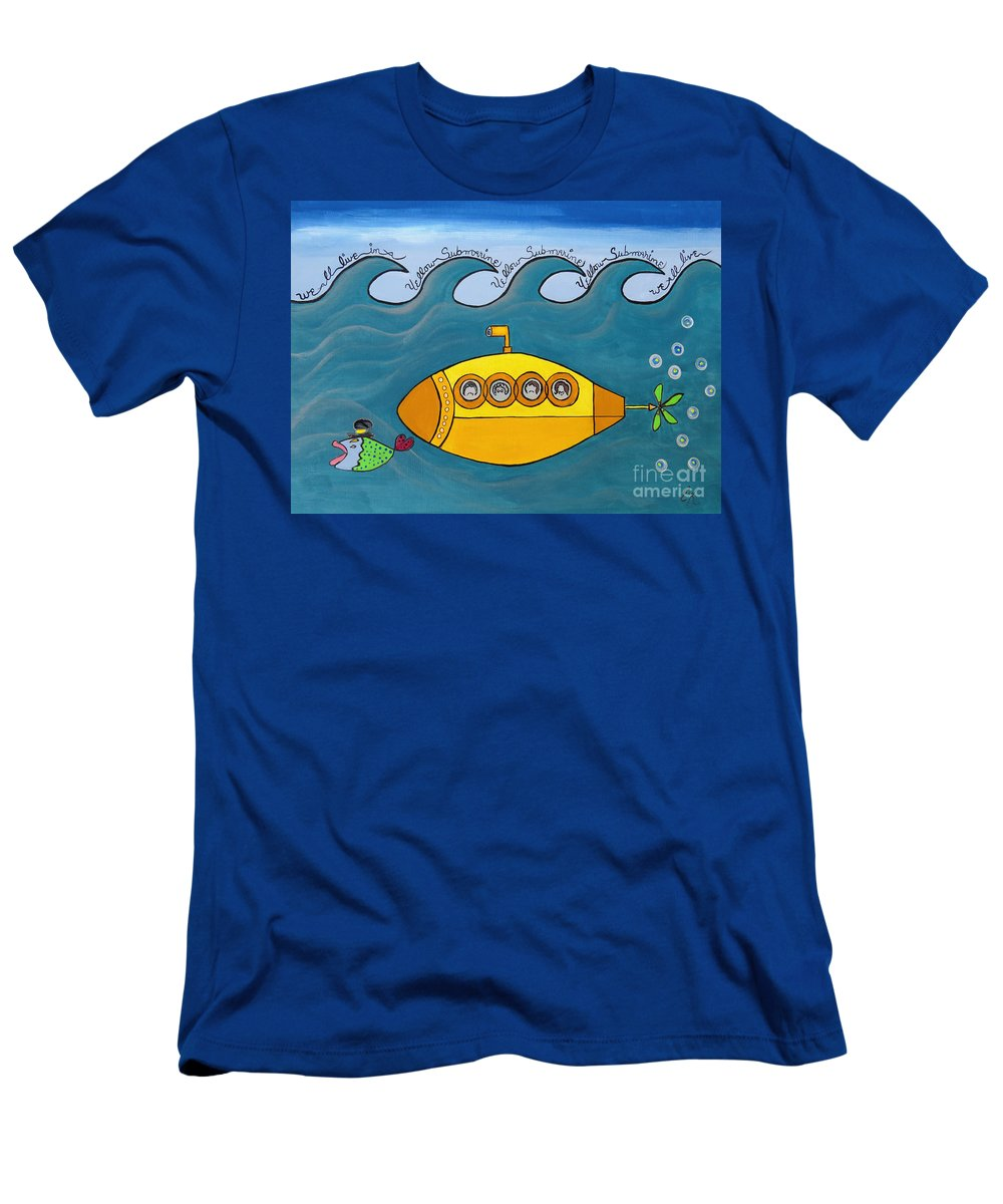 The Beatles T-Shirt featuring the painting Lets Sing The Chorus Now - the Beatles Yellow Submarine by Ella Kaye Dickey