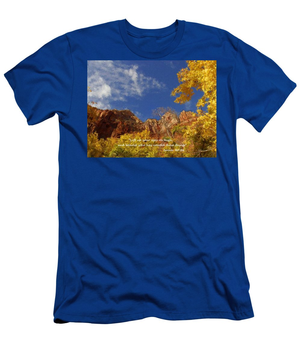 Inspirational Men's T-Shirt (Athletic Fit) featuring the painting Lift Up Your Eyes by Bruce Nutting