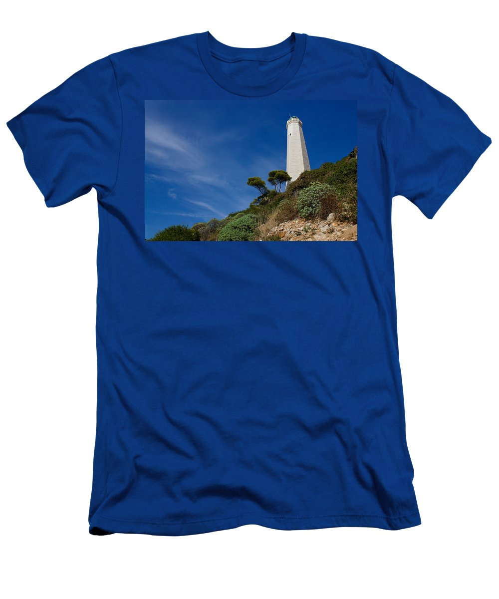 Lighthouse Men's T-Shirt (Athletic Fit) featuring the photograph Lighthouse At Saint-jean-cap-ferrat France French Riviera by Georgia Mizuleva