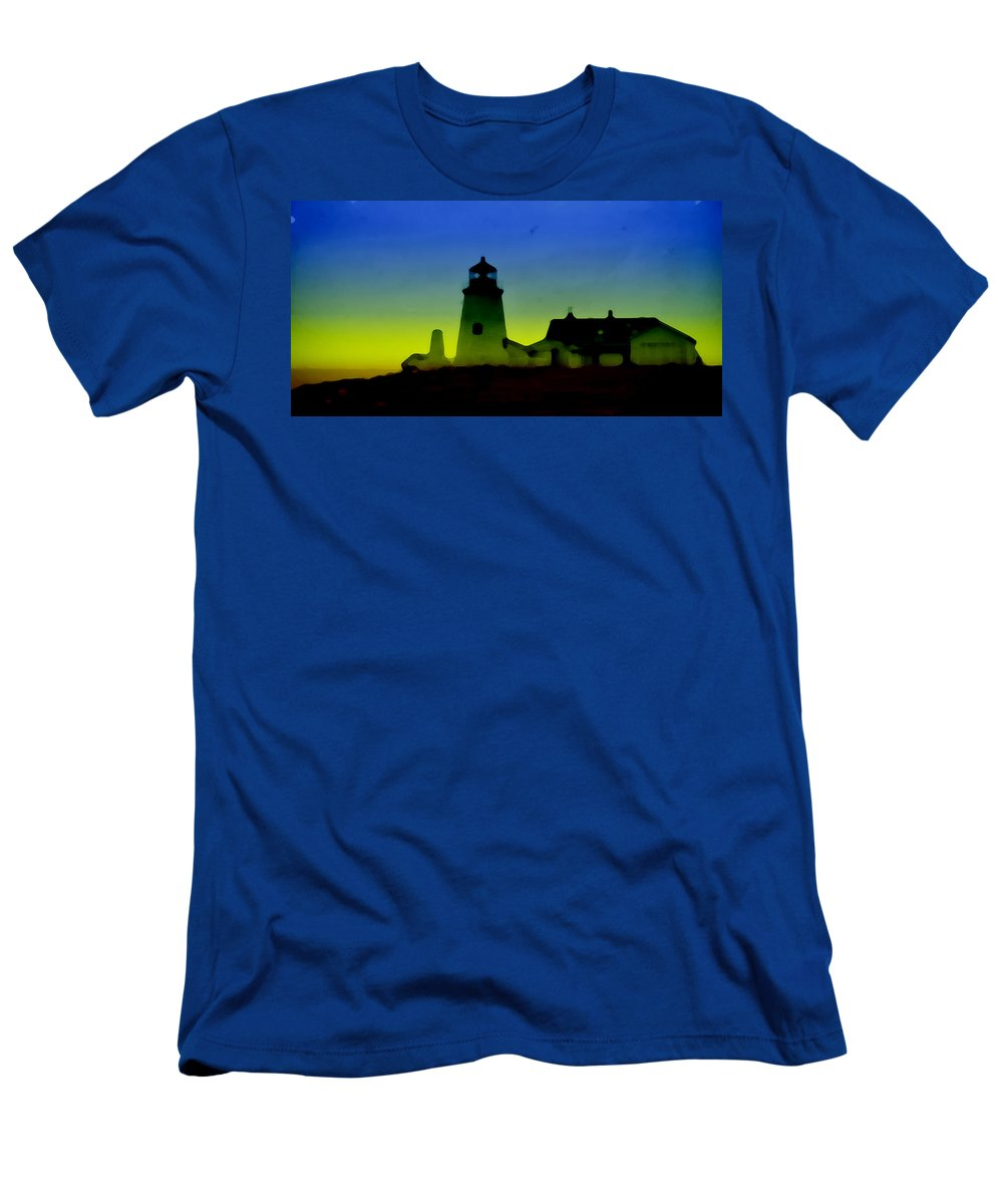 Digital Art Men's T-Shirt (Athletic Fit) featuring the digital art Lighthouse by Cathy Anderson