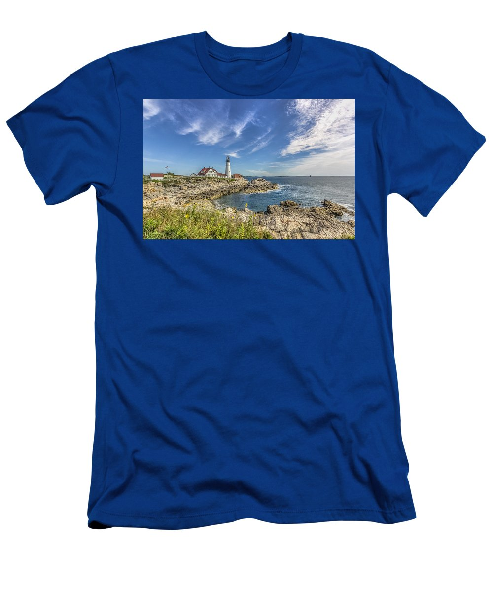 Maine Men's T-Shirt (Athletic Fit) featuring the photograph Lighthouse Point by Jane Luxton