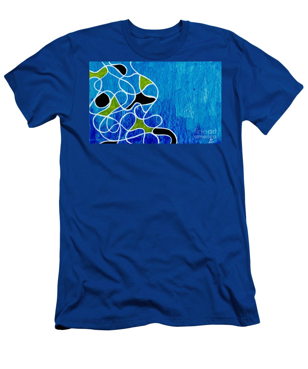 Blue Men's T-Shirt (Athletic Fit) featuring the painting Linework Blue by Stefanie Forck