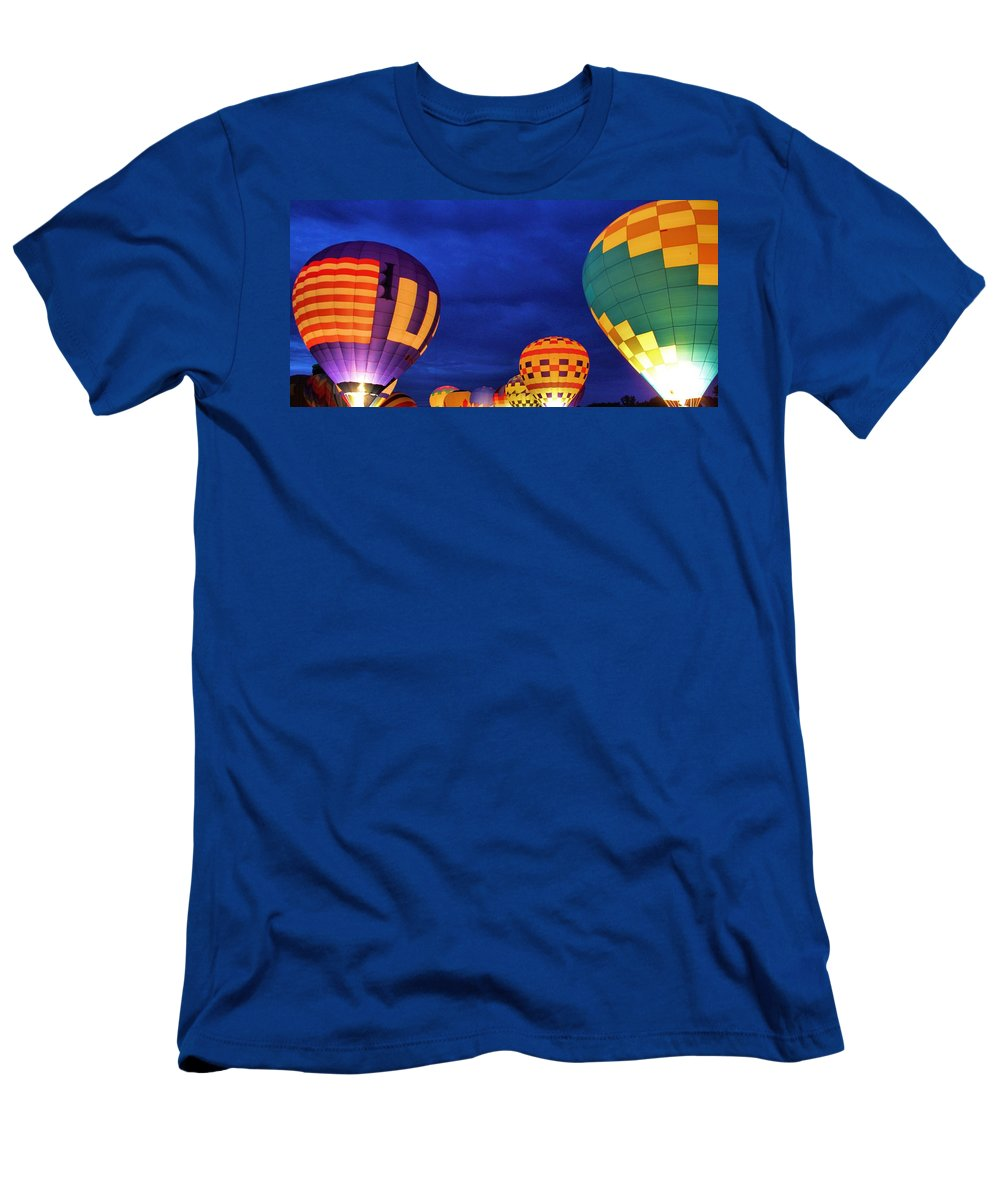 Hot Air Balloon Photograph Men's T-Shirt (Athletic Fit) featuring the photograph Lit Up by Dan Sproul