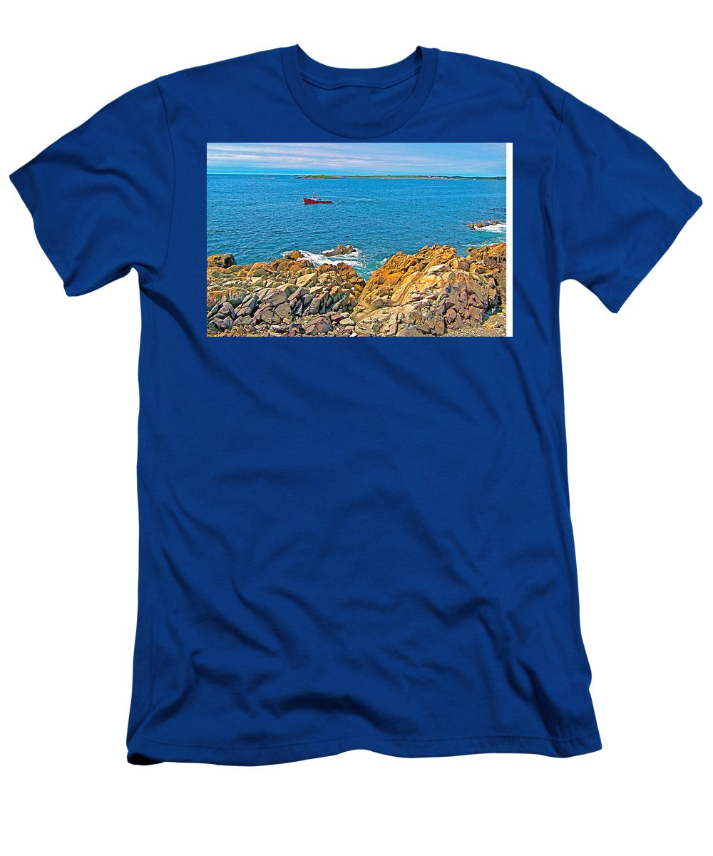 Lobster Boat Checking Traps In Louisbourg Bay Off Cape Breton Island Men's T-Shirt (Athletic Fit) featuring the photograph Lobster Boat Checking Traps In Louisbourg Bay-ns by Ruth Hager