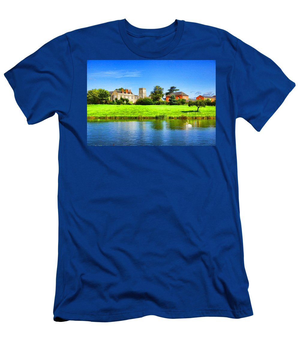 Maisemore Men's T-Shirt (Athletic Fit) featuring the photograph Maisemore Court And Church 2 by Ron Harpham
