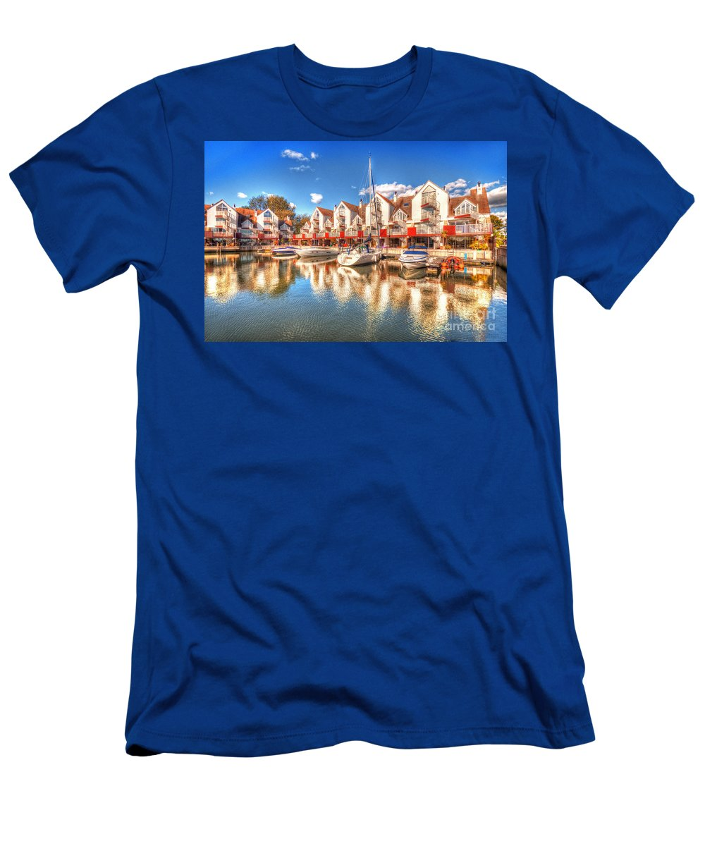 Reflections Men's T-Shirt (Athletic Fit) featuring the photograph Marina Reflections by Rob Hawkins