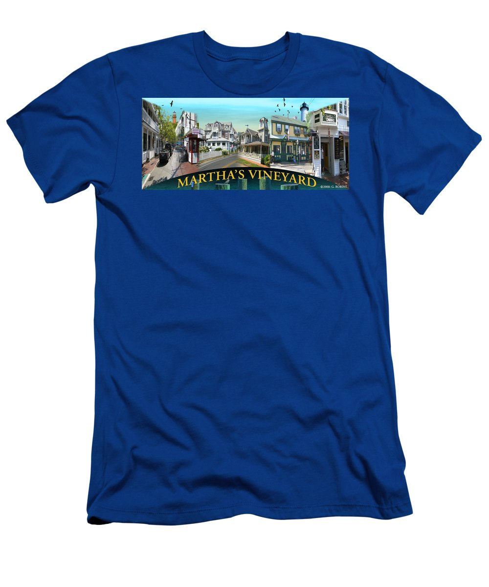 Landscape Men's T-Shirt (Athletic Fit) featuring the photograph Martha's Vineyard Collage by Gerry Robins