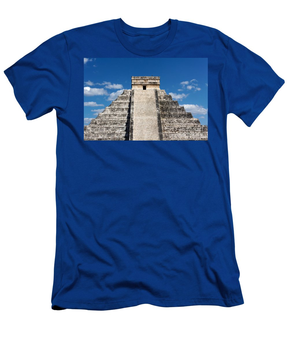 America Men's T-Shirt (Athletic Fit) featuring the photograph Mayan Temple Pyramid At Chichen Itza by Jannis Werner