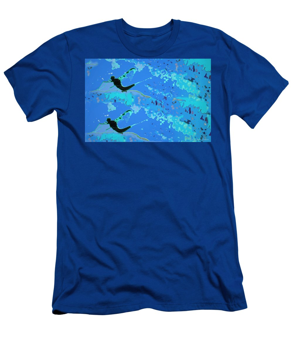 Mayfly Men's T-Shirt (Athletic Fit) featuring the photograph Mayfly Abstract Blue by Joyce Dickens