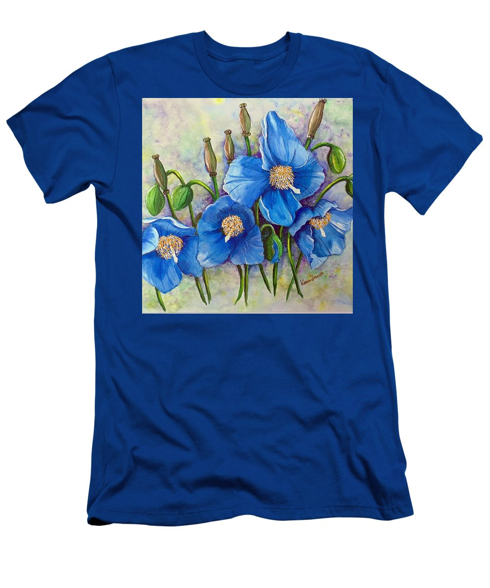 Blue Hymalayan Poppy T-Shirt featuring the painting MECONOPSIS  Himalayan Blue Poppy by Karin Dawn Kelshall- Best