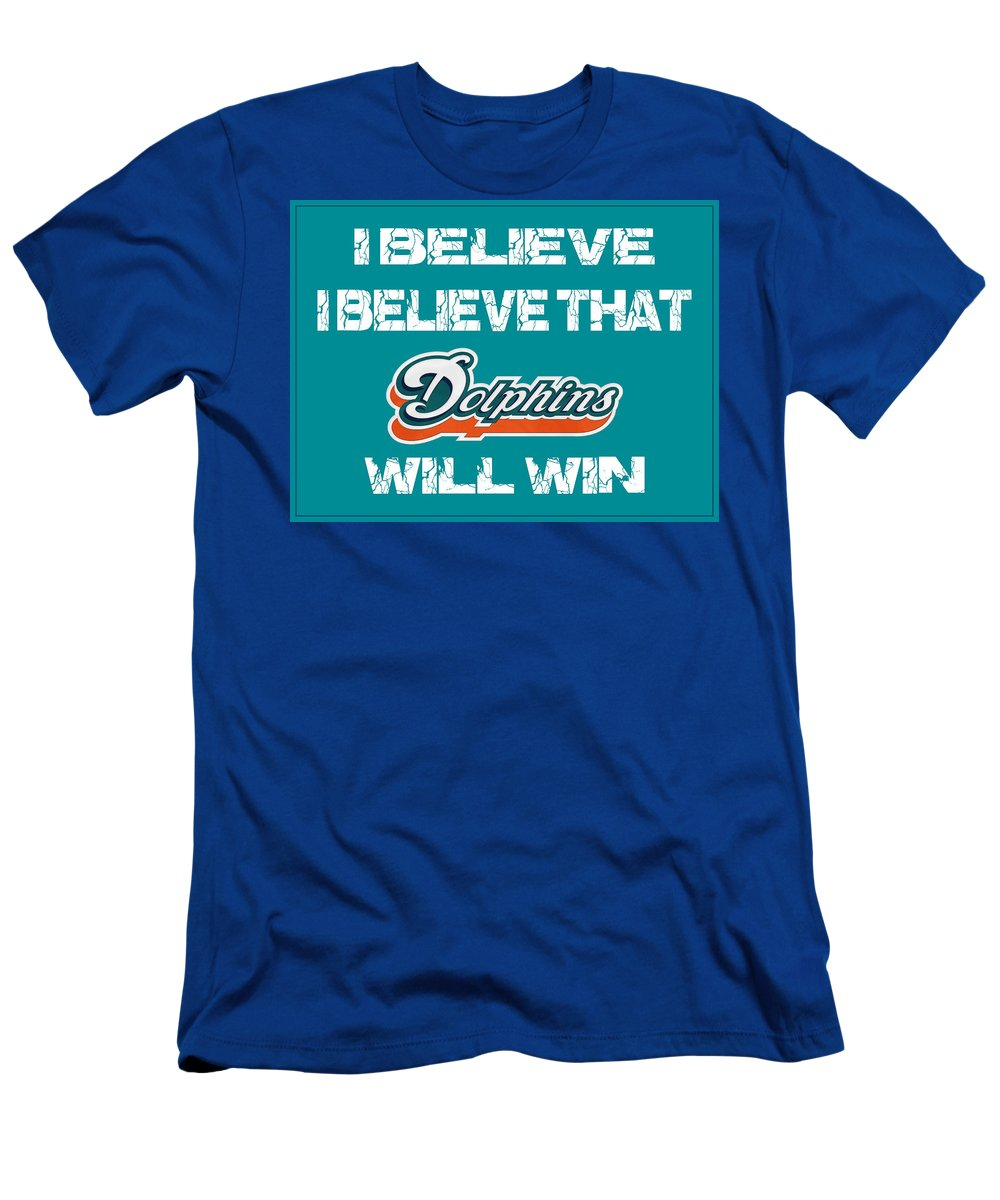 Dolphins Men's T-Shirt (Athletic Fit) featuring the photograph Miami Dolphins I Believe by Joe Hamilton