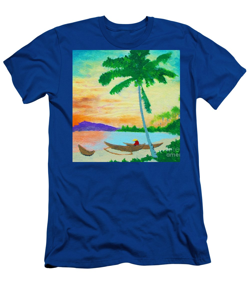 Original Men's T-Shirt (Athletic Fit) featuring the painting Mindanao Sunset by Roberto Prusso