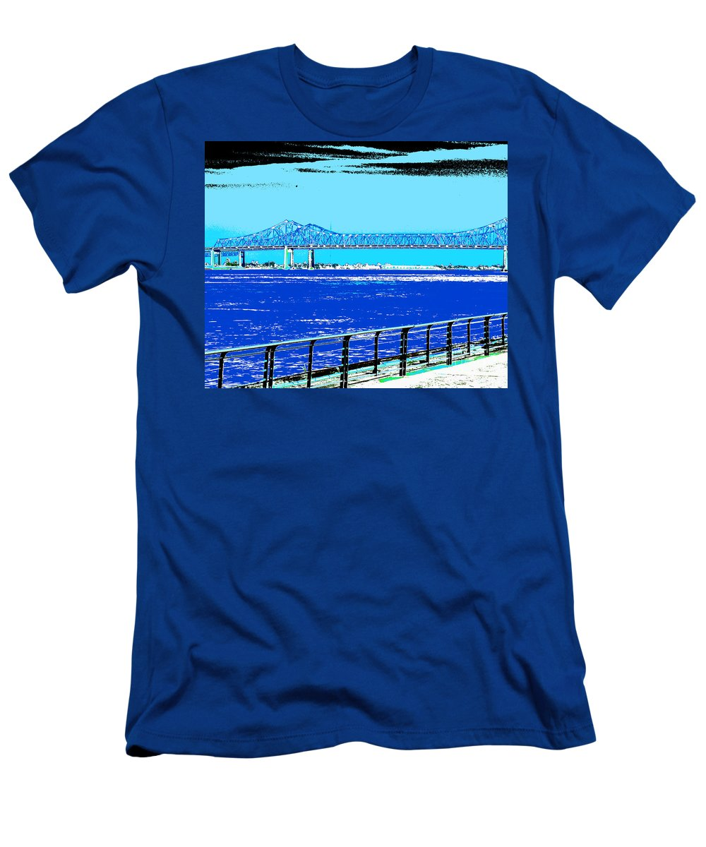 Mississippi River Men's T-Shirt (Athletic Fit) featuring the digital art Mississippi River Bridge Poster by Alys Caviness-Gober