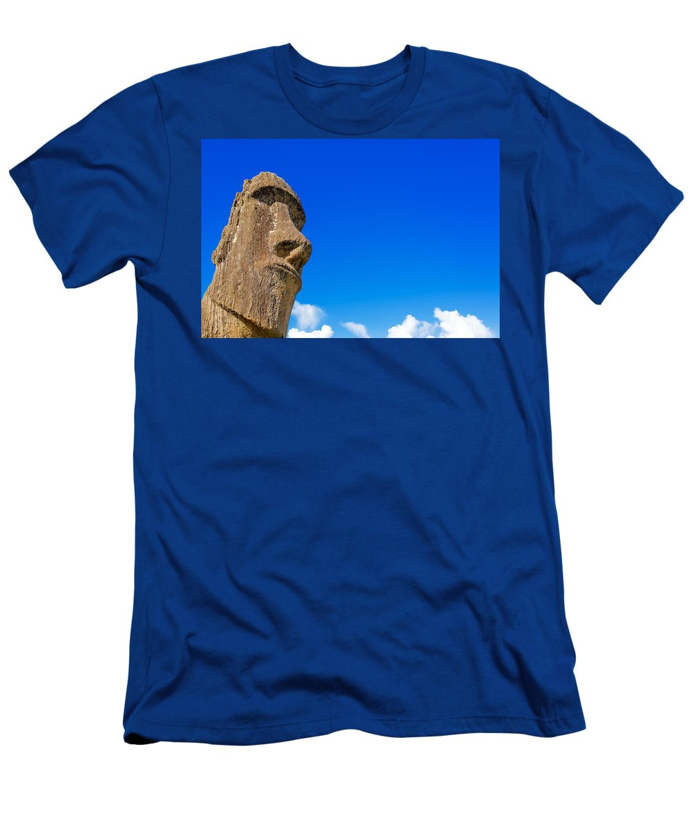 Chile Men's T-Shirt (Athletic Fit) featuring the photograph Moai And Blue Sky by Jess Kraft