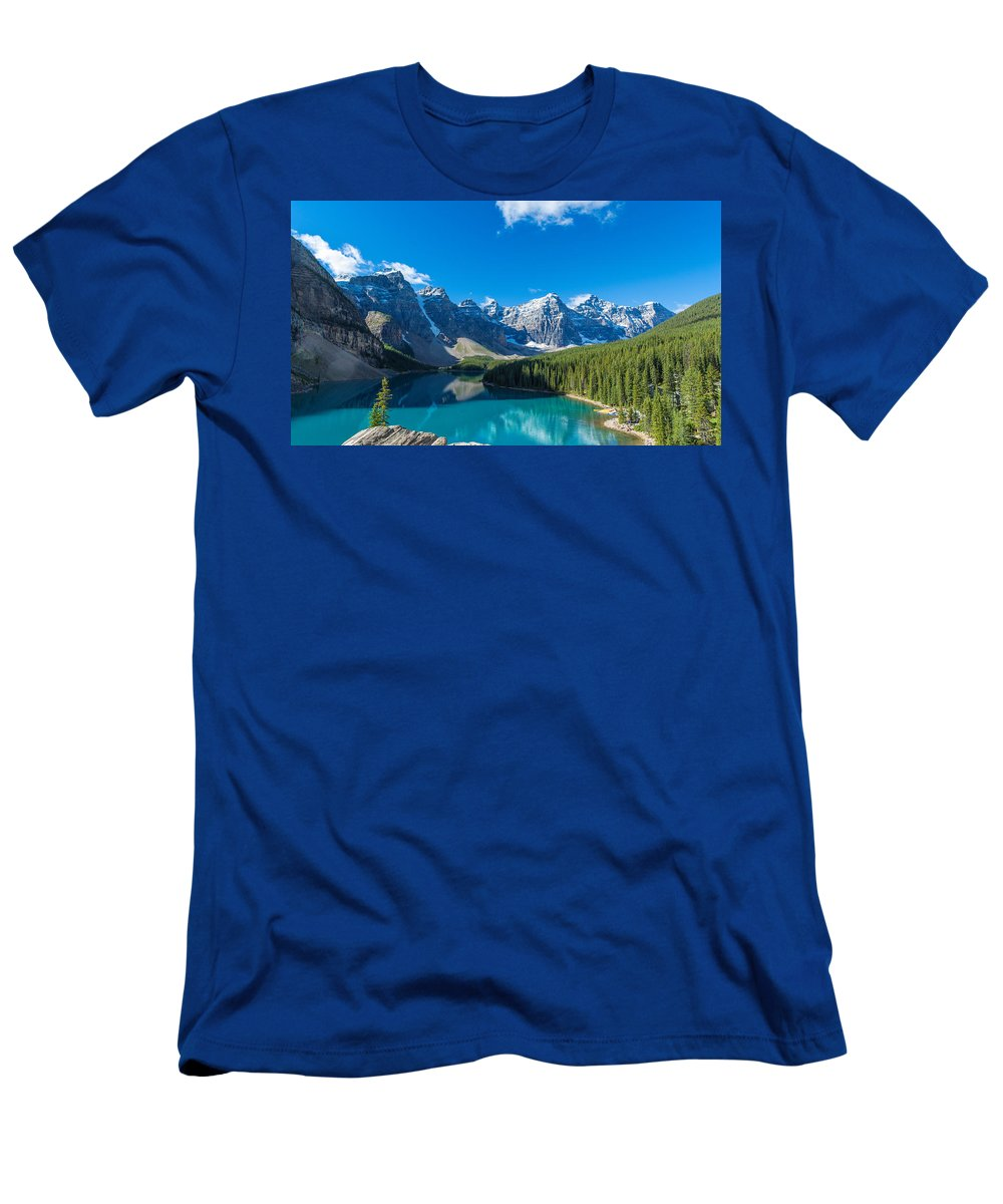 Photography Men's T-Shirt (Athletic Fit) featuring the photograph Moraine Lake At Banff National Park by Panoramic Images